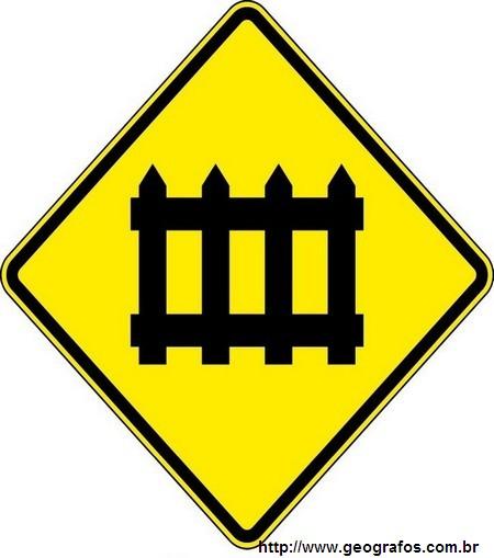 Placa Passagem de Nível com Barreira Para Sinalização de